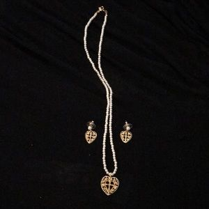 Avon Pearl and Heart Cross Necklace Earrings Set